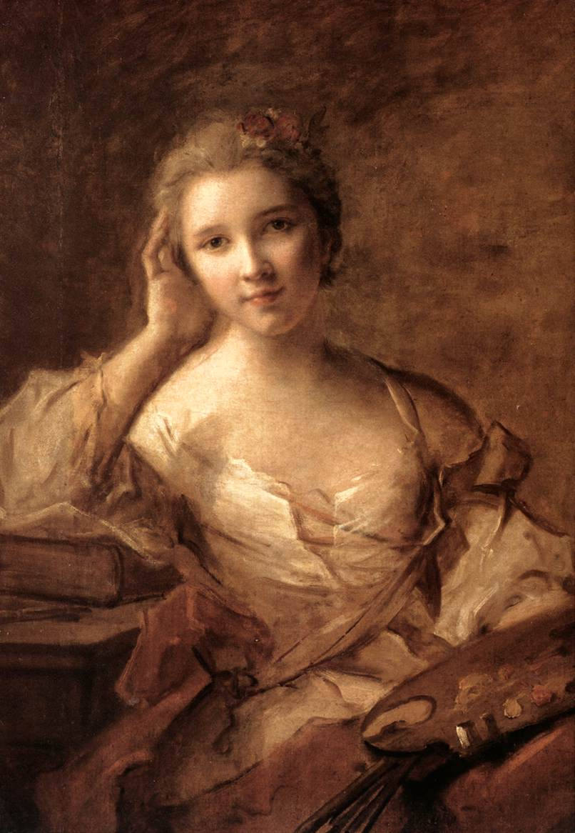Portrait of a young woman painter jean marc nattier